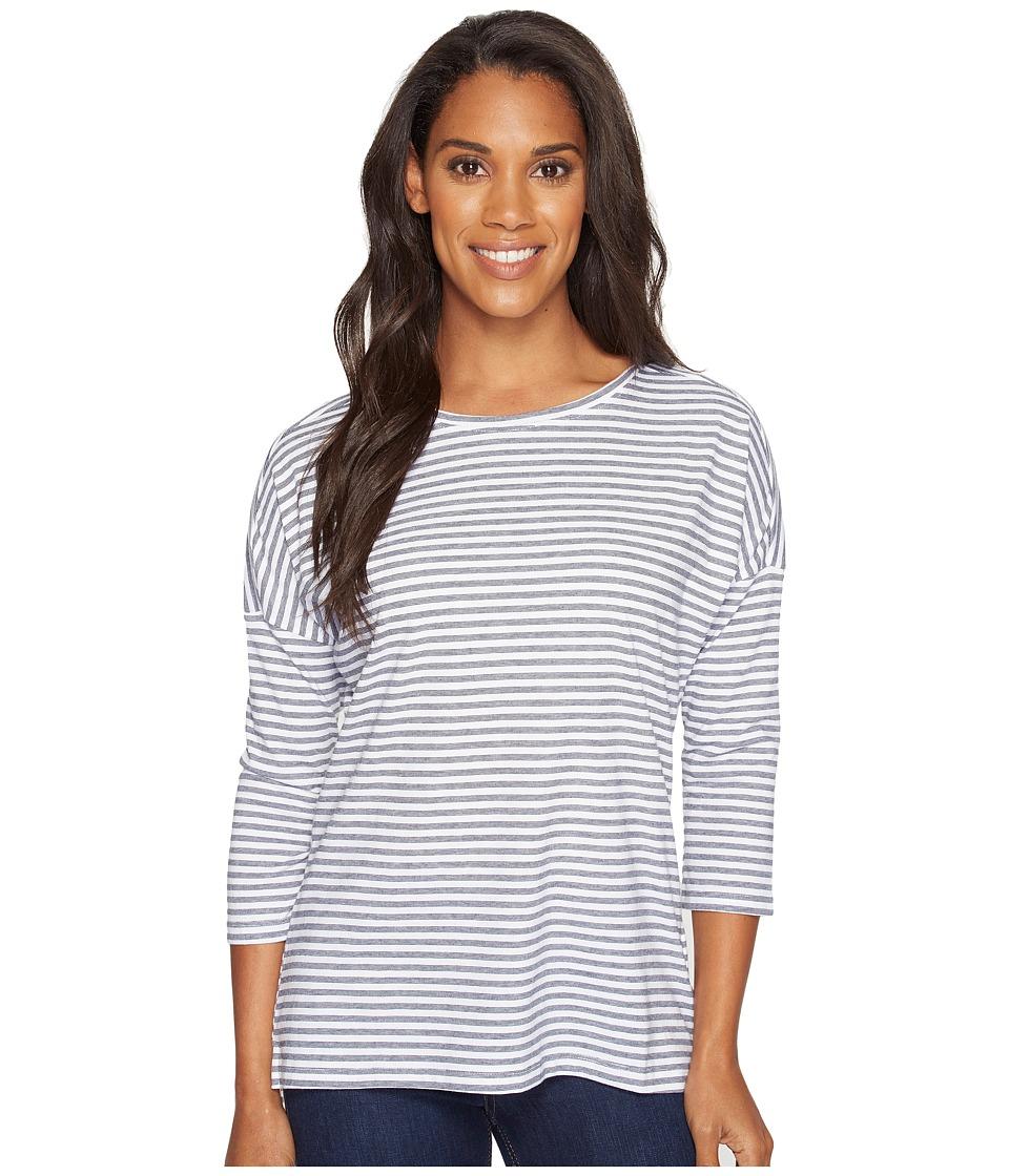 Columbia - Harborside 3/4 Sleeve Shirt (Collegiate Navy Stripe/Sunlit) Women's Long Sleeve Pullover