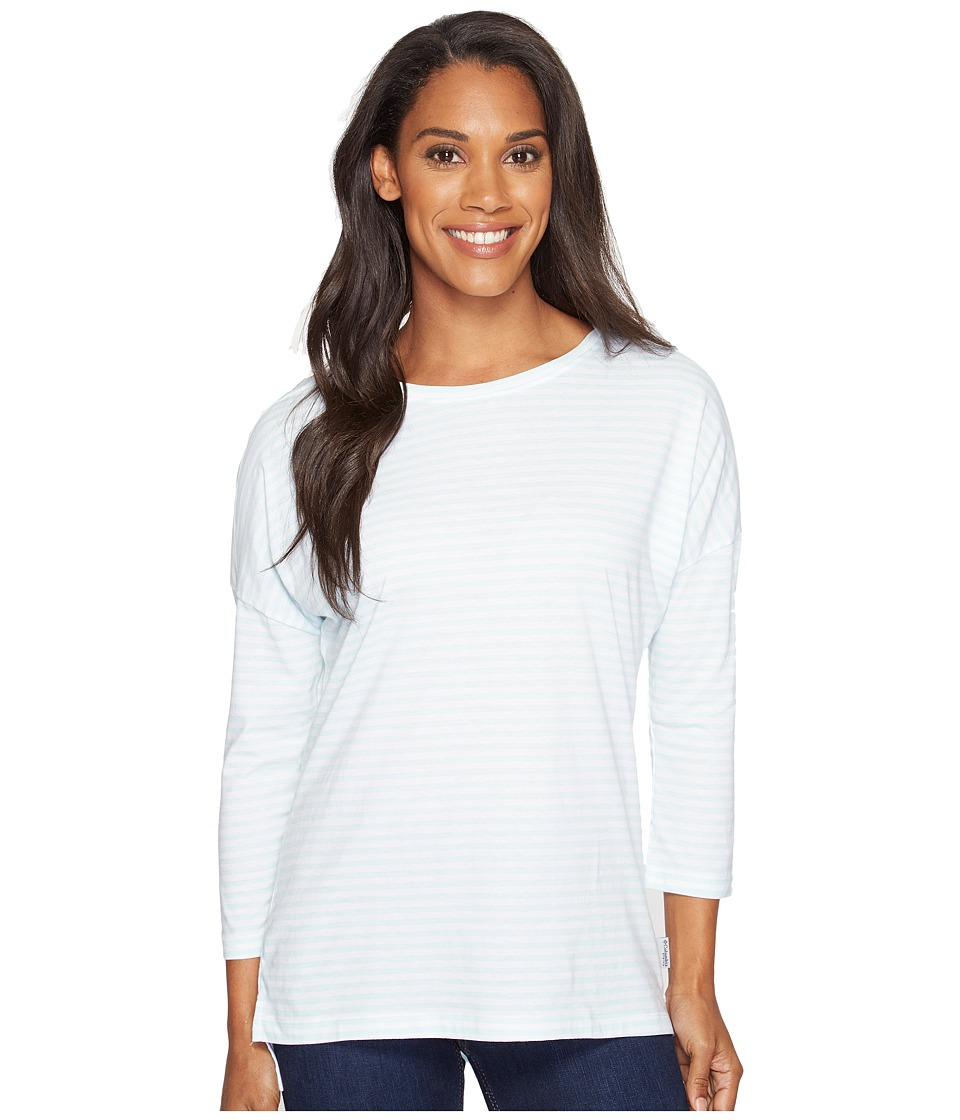 Columbia - Harborside 3/4 Sleeve Shirt (Blueglass Stripe/Phantom Purple) Women's Long Sleeve Pullover