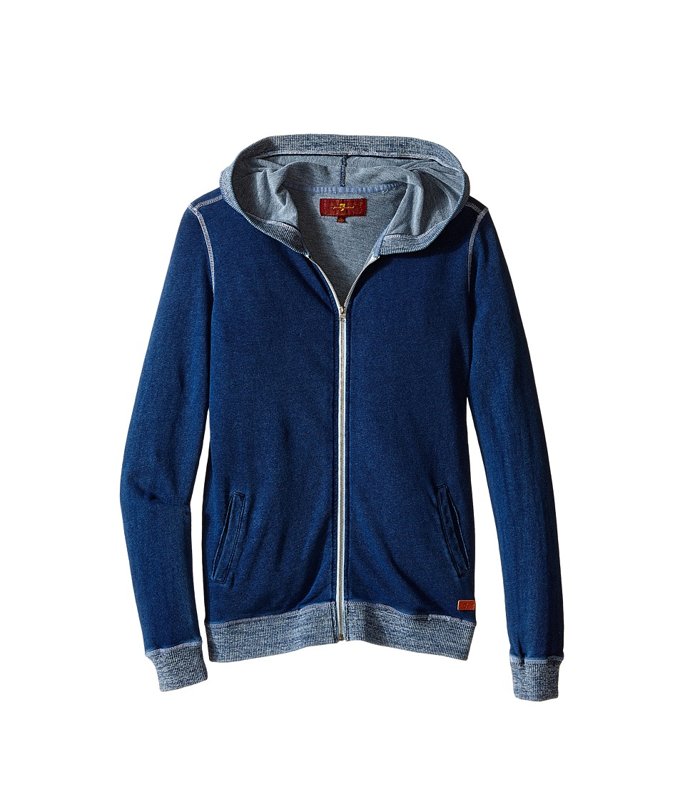 7 For All Mankind Kids - Knit Denim Hoodie (Indigo) Boy's Sweatshirt