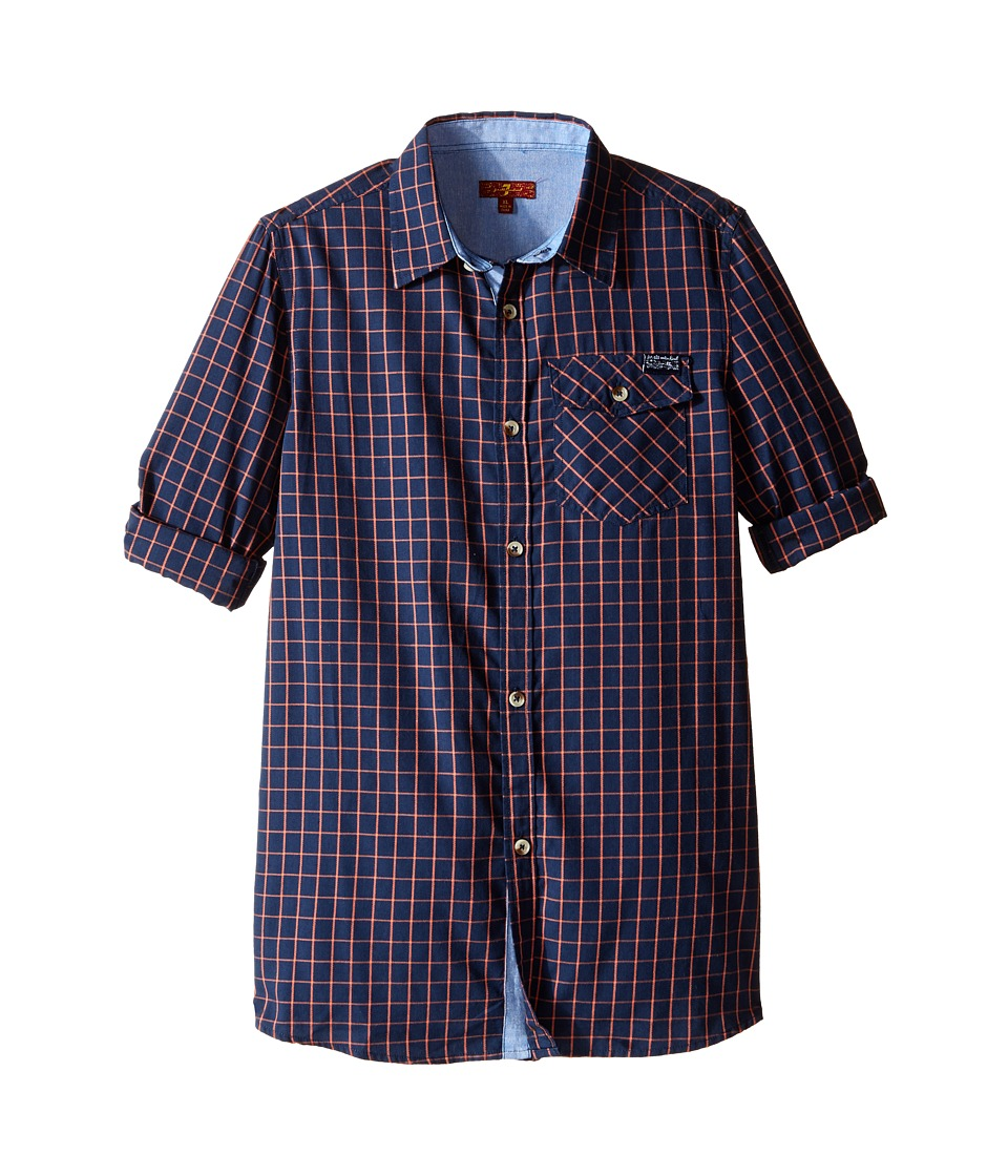 7 For All Mankind Kids - Roll-Tab Sleeve Poplin Button Up Shirt with Chambray (Big Kids) (Burnt Sienna) Boy's Clothing