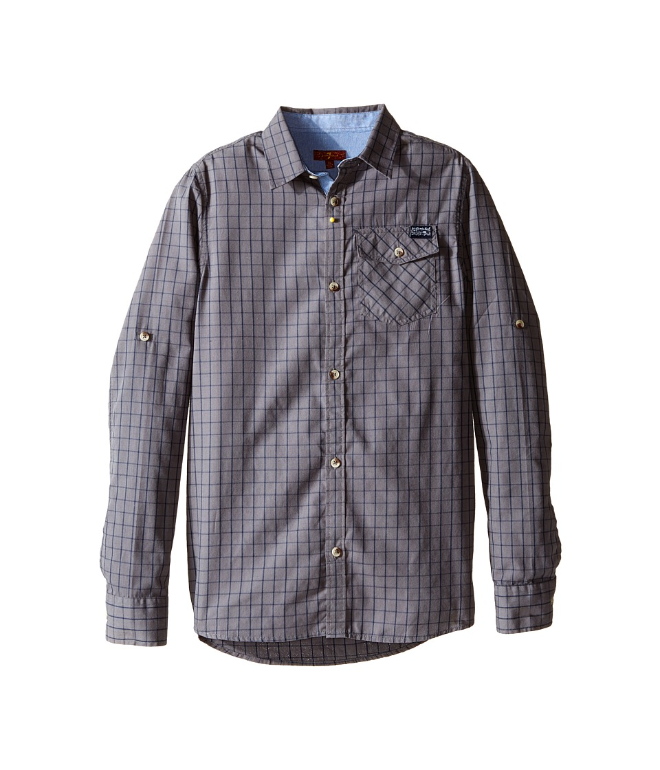 7 For All Mankind Kids - Roll-Tab Sleeve Poplin Button Up Shirt with Chambray (Big Kids) (Castlerock) Boy's Clothing