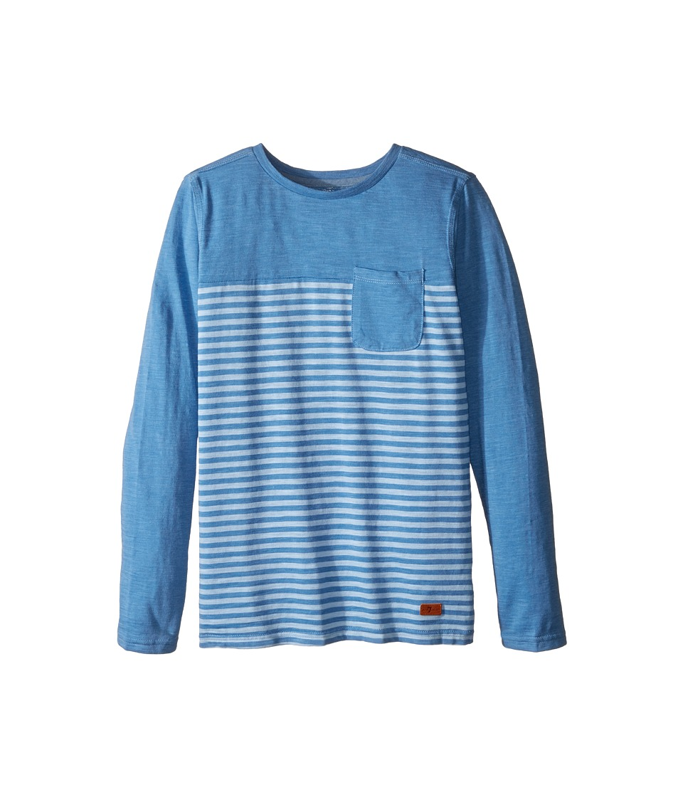 7 For All Mankind Kids - Long Sleeve Striped Slub Jersey Pocket T-Shirt (Big Kids) (Riveria) Boy's T Shirt
