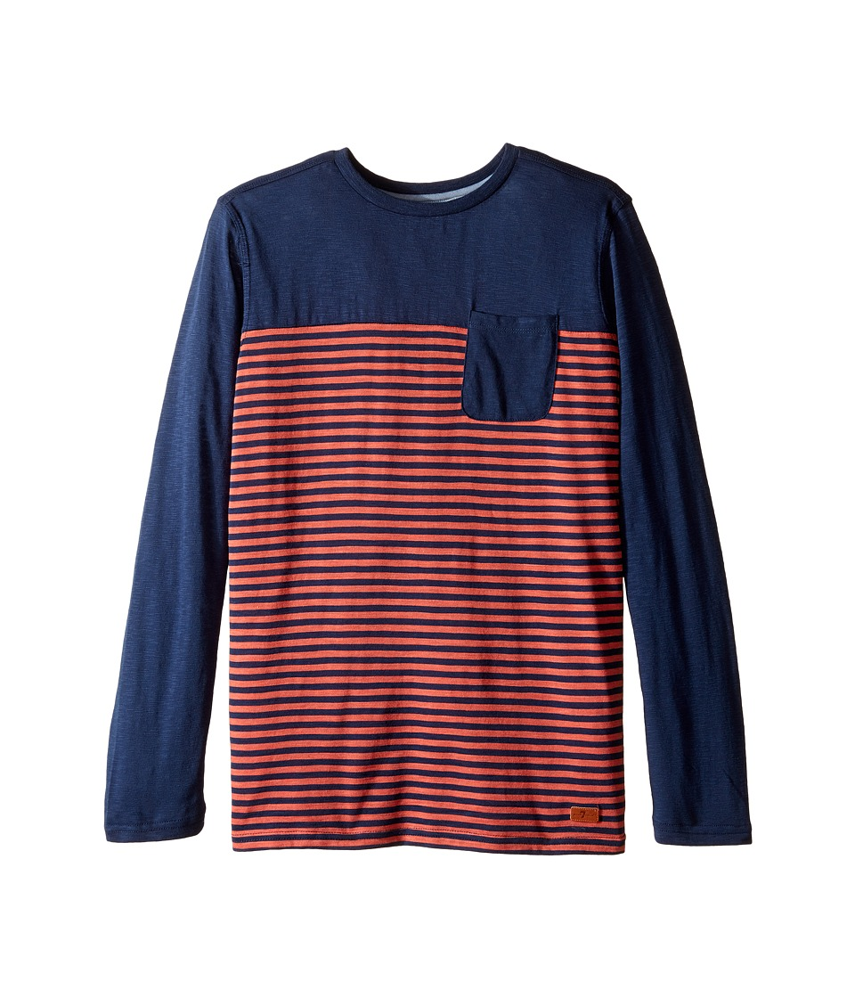 7 For All Mankind Kids - Long Sleeve Striped Slub Jersey Pocket T-Shirt (Big Kids) (Dress Blues) Boy's T Shirt