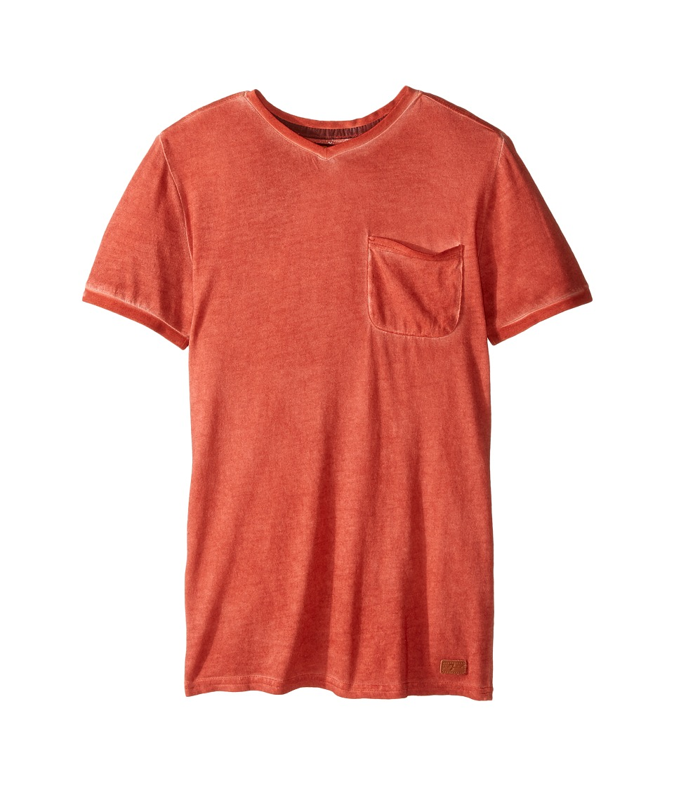 7 For All Mankind Kids - Short Sleeve V-Neck Burnout Jersey Pocket T-Shirt (Big Kids) (Burnt Sienna) Boy's T Shirt