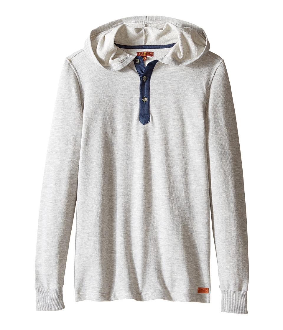 7 For All Mankind Kids - Long Sleeve Slub French Terry Henley Hoodie (Big Kids) (Heather Grey) Boy's Sweatshirt