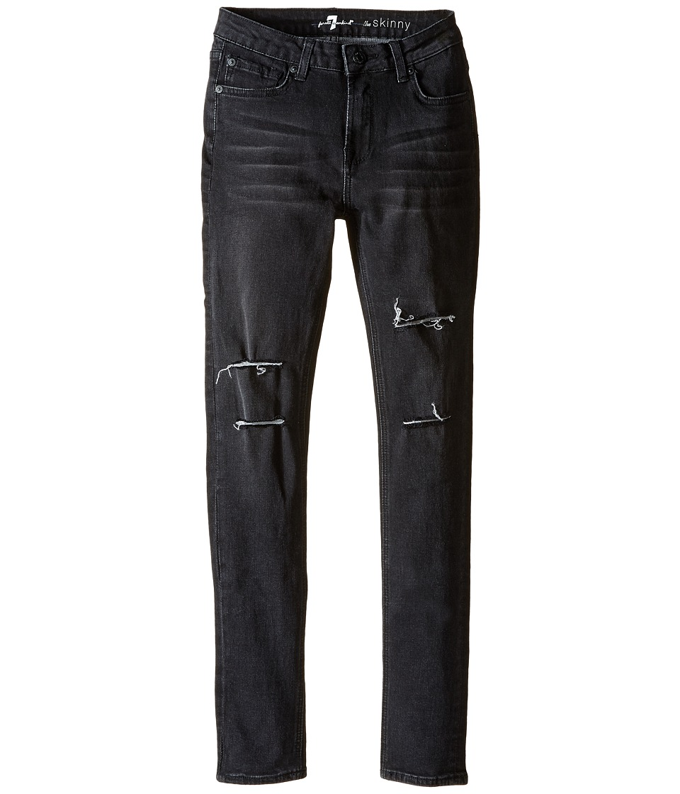 7 For All Mankind Kids - The Skinny Stretch Denim Jeans in Destroyed Black (Big Kids) (Destroyed Black) Girl's Jeans