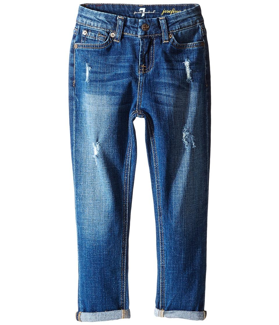 7 For All Mankind Kids - Josefina Skinny Boyfriend Stretch Twill Jeans in Royal Broken Twill (Little Kids) (Royal Broken Twill) Girl's Jeans