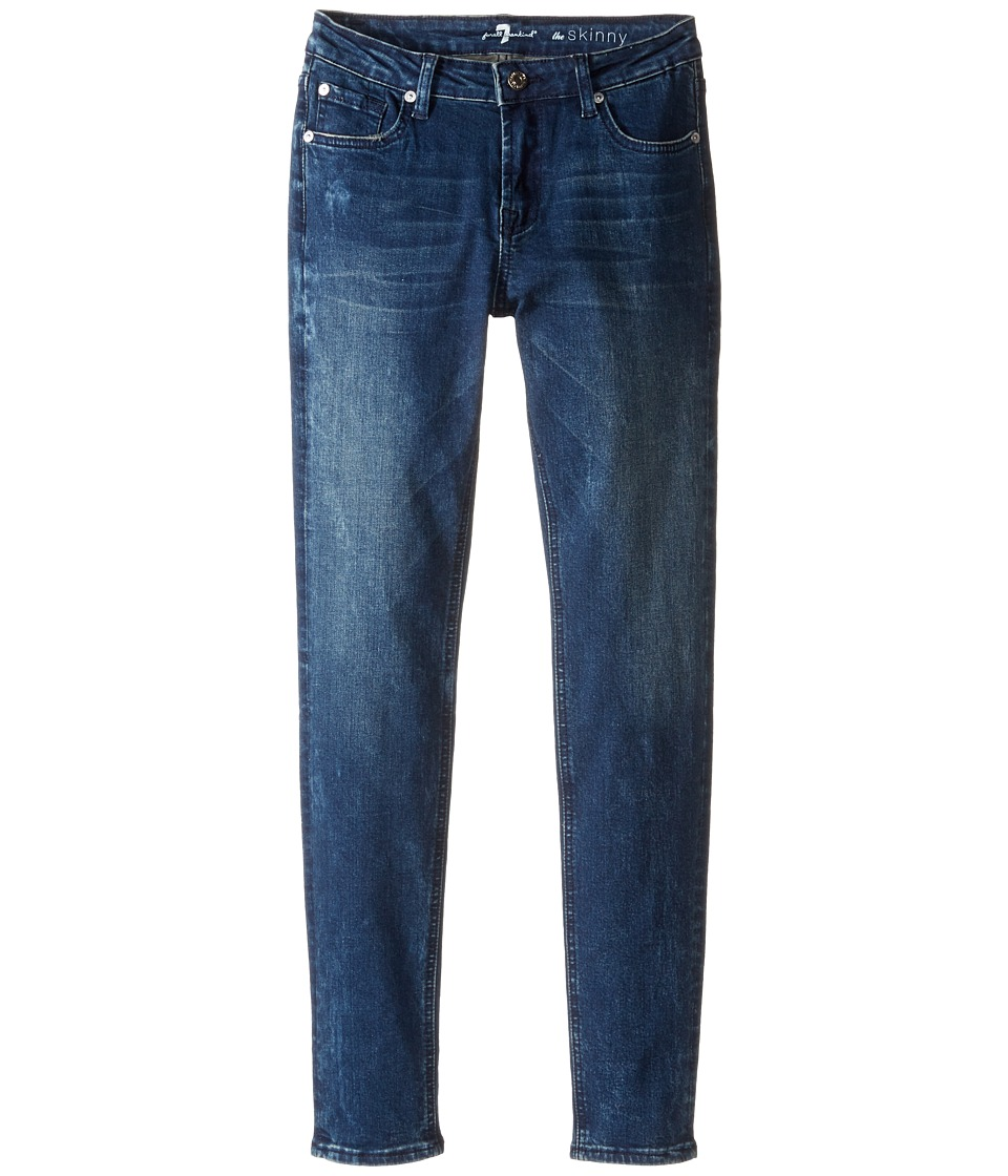 7 For All Mankind Kids - The Skinny Stretch Denim Jeans in Crushed Blue Black (Big Kids) (Crushed Blue Black) Girl's Jeans