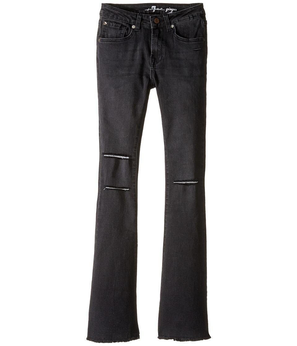 7 For All Mankind Kids - The Ginger Wide Leg Flare Stretch Denim Jeans in Destroyed Black (Big Kids) (Destroyed Black) Girl's Jeans