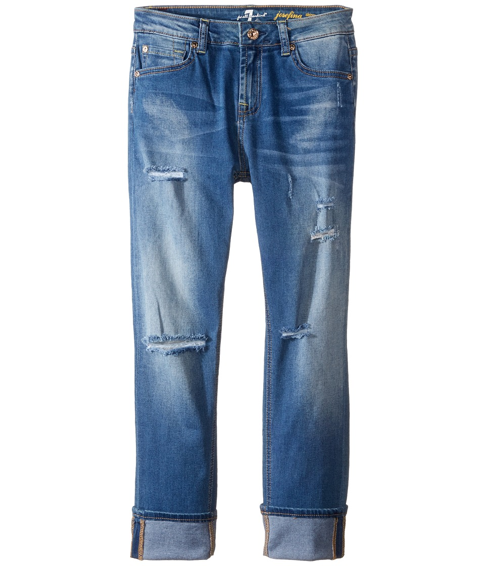 7 For All Mankind Kids - The Josefina Boyfriend Five-Pocket Skinny Stretch Denim Jeans in Bright Bluebell (Big Kids) (Bright Bluebell) Girl's Jeans