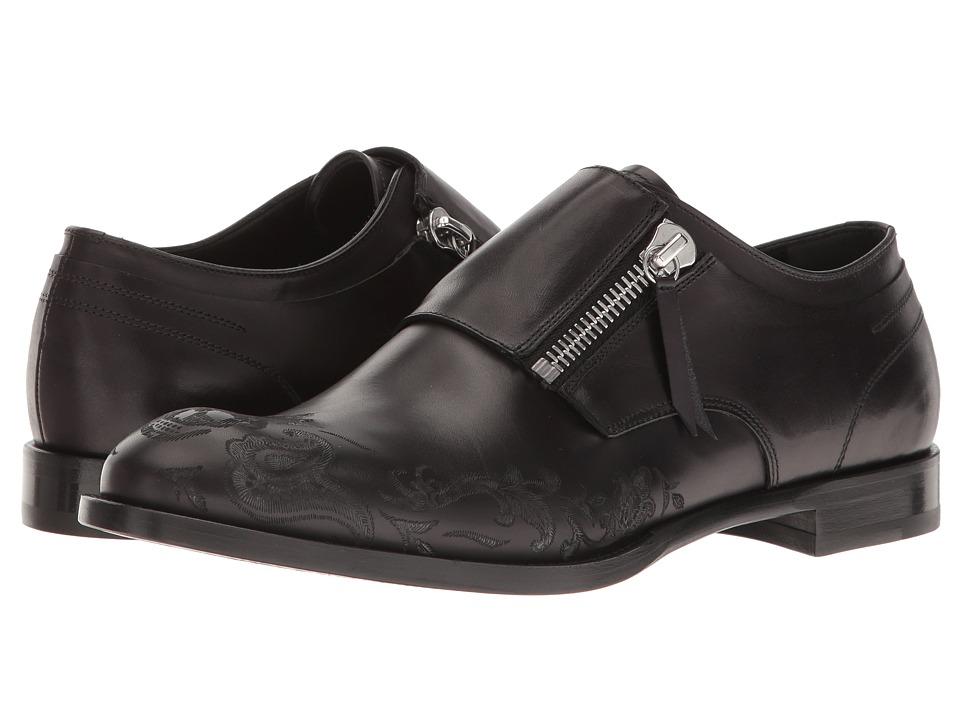 Alexander McQueen - Etched Zip Derby (Black) Men's Lace up casual Shoes