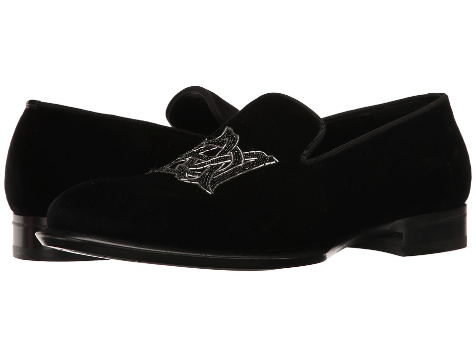 Alexander McQueen - Velvet AMQ Slipper (Black) Men's Slip on Shoes