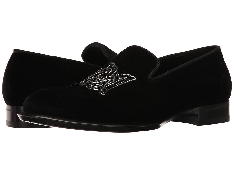 Alexander McQueen - Velvet AMQ Slipper (Black) Men's Slip on Shoes