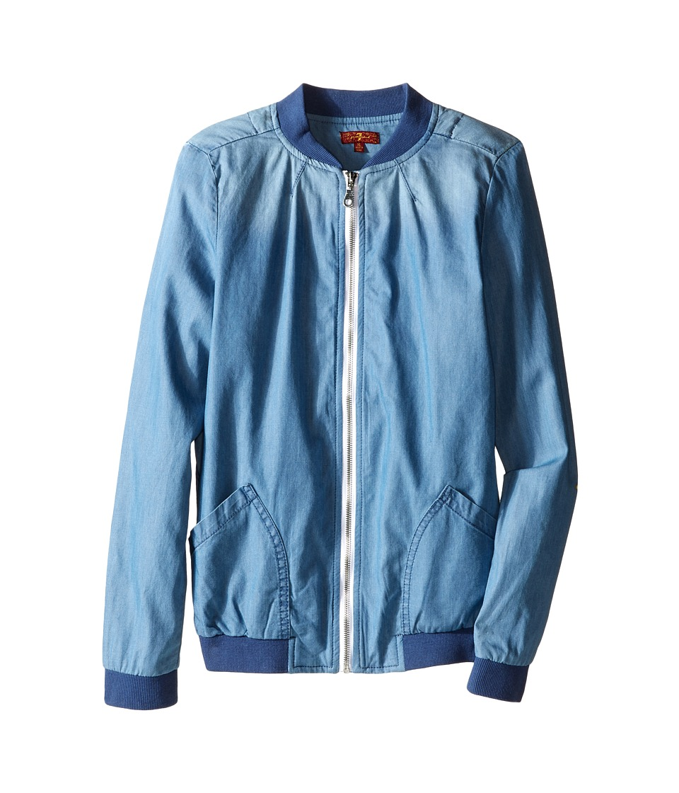 7 For All Mankind Kids - Tencel Bomber Jacket (Big Kids) (Methyl Blue) Girl's Coat