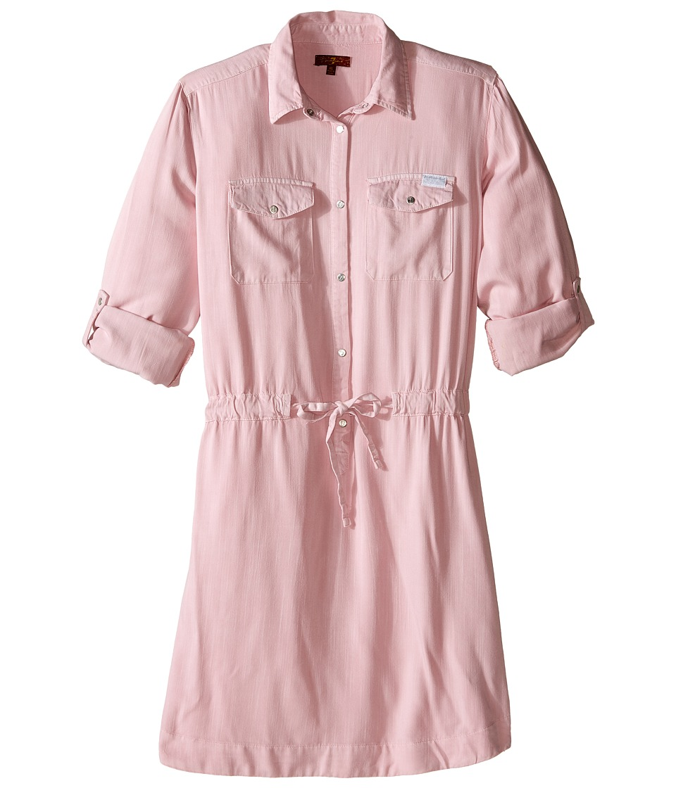 7 For All Mankind Kids - Roll-Tab Sleeve Twill Shirtdress (Big Kids) (Blush Pink) Girl's Dress