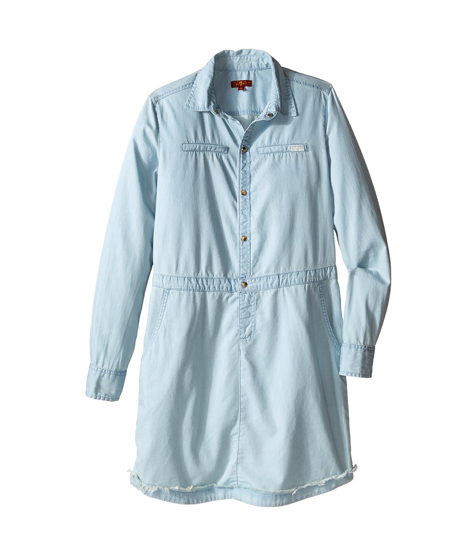 7 For All Mankind Kids - Long Sleeve Tencel Chambray Shirtdress (Big Kids) (Bleached Out) Girl's Dress
