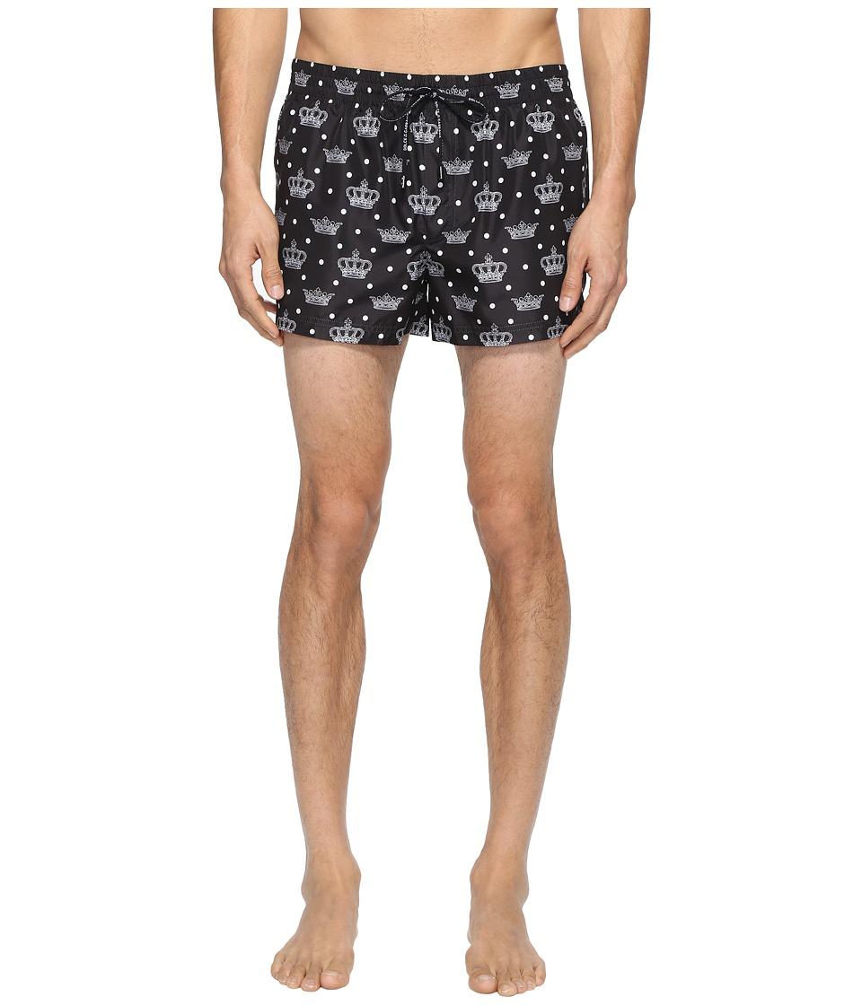 Dolce & Gabbana - Crown Print Mid Cut Swim Shorts (Black) Men's Swimwear