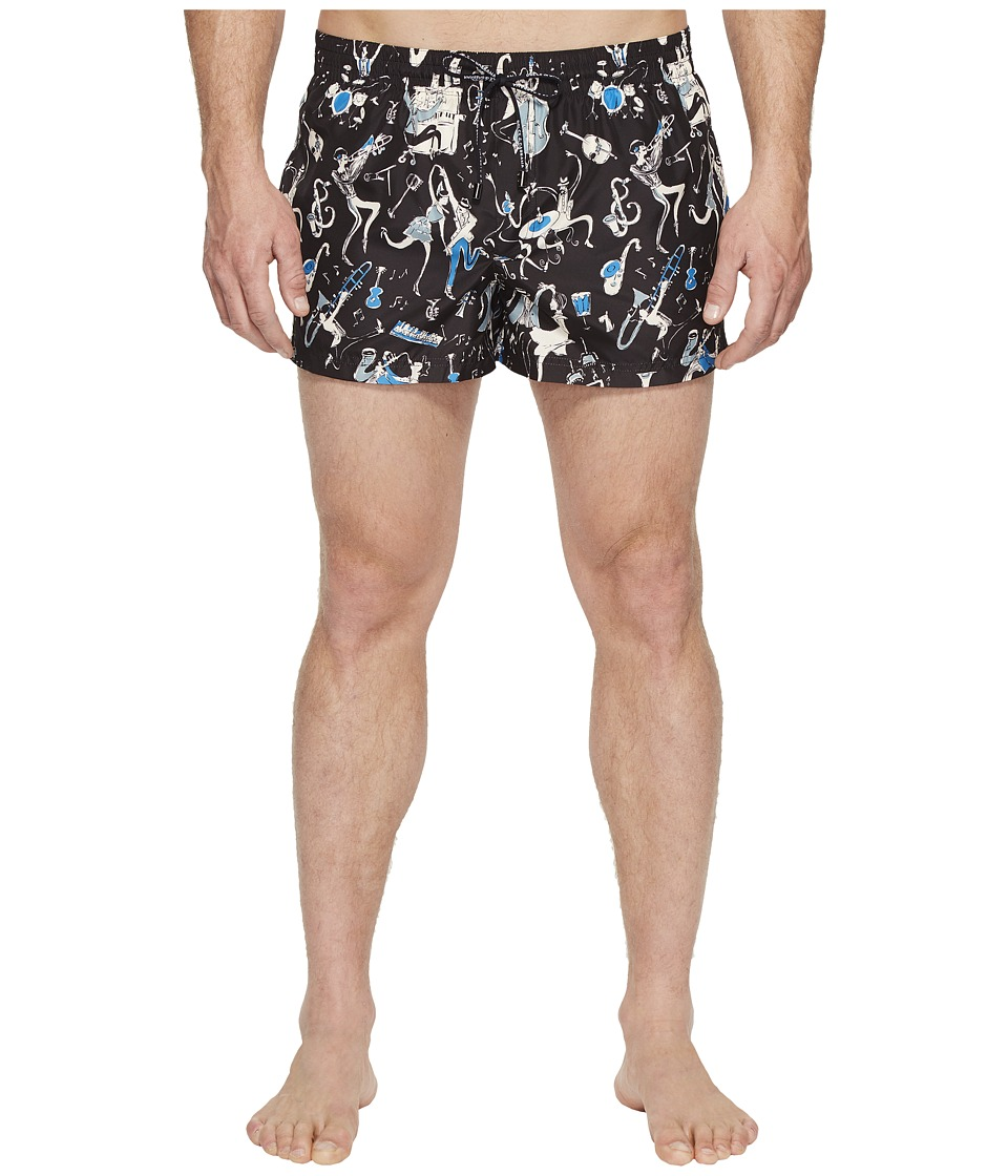 Dolce & Gabbana Jazz Print Mid Cut Swim Shorts (Black) Men