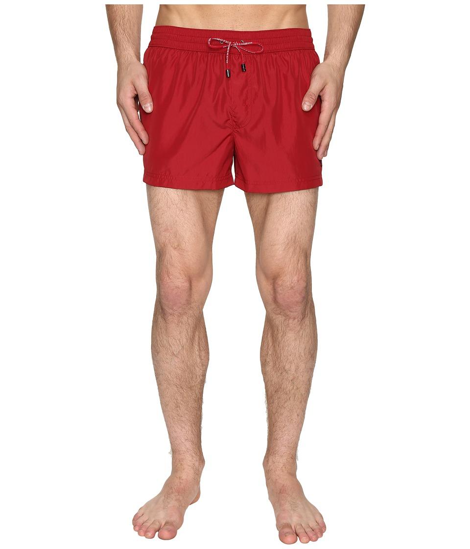 Dolce & Gabbana Solid Mid Cut Swim Shorts (Red) Men