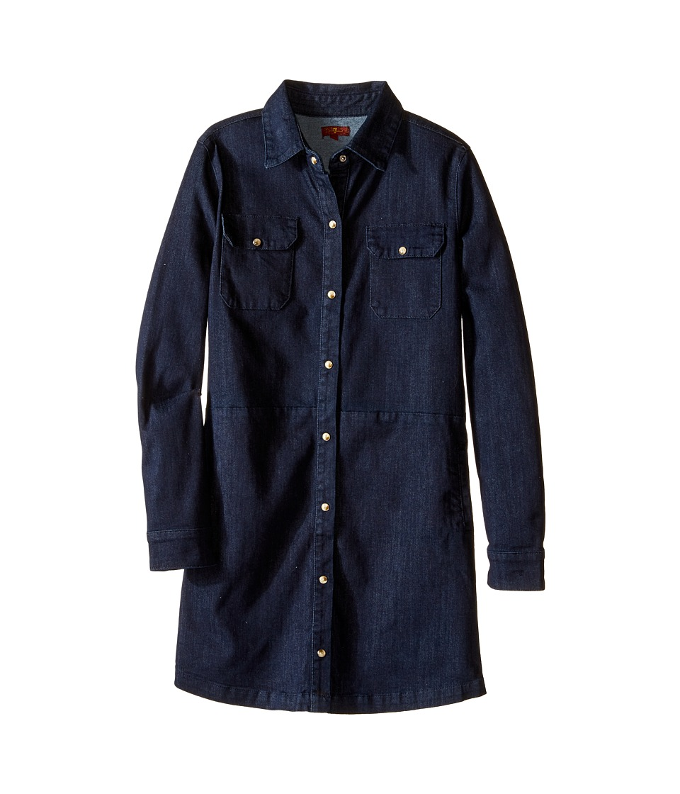 7 For All Mankind Kids - Long Sleeve Snap-Up Denim Shirtdress (Big Kids) (Light Indigo) Girl's Dress