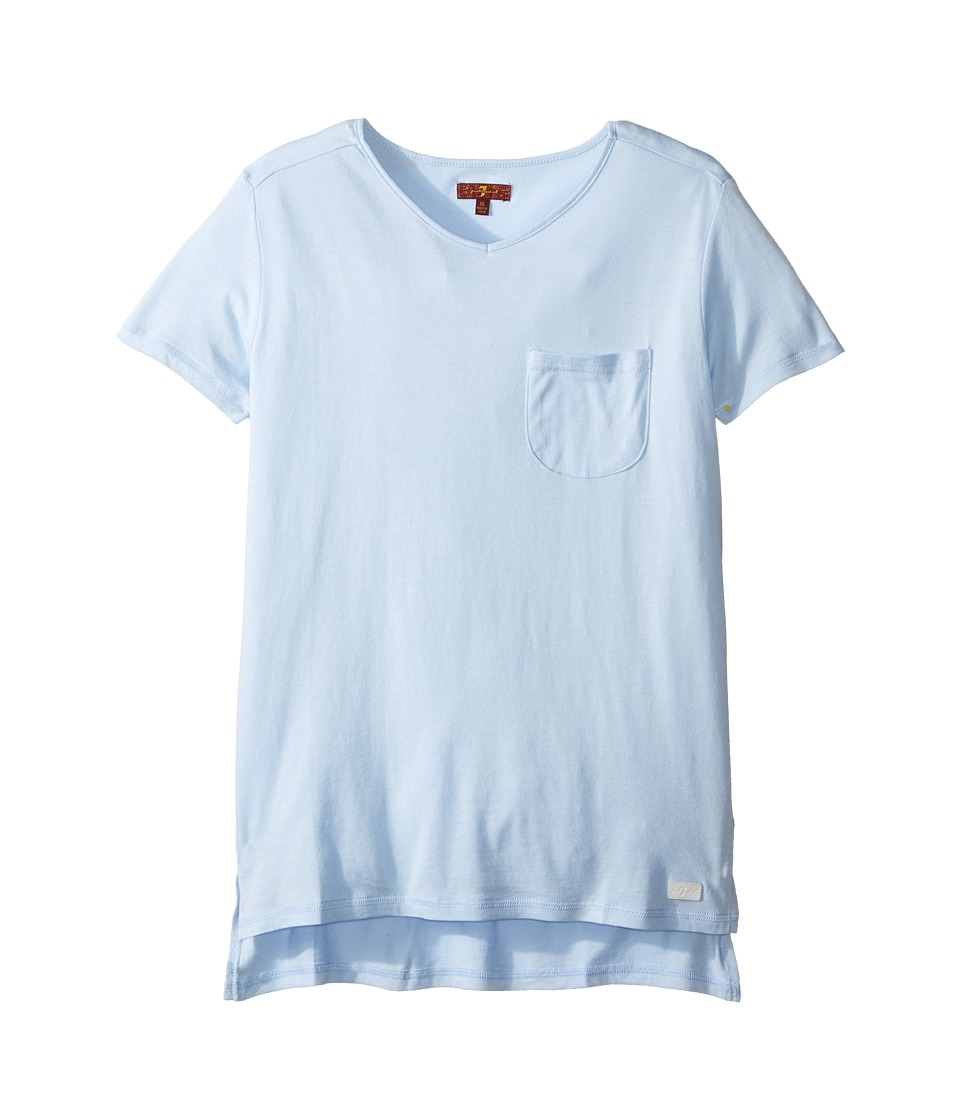7 For All Mankind Kids - Slub Knit T-Shirt (Big Kids) (Carolina Blue) Girl's T Shirt