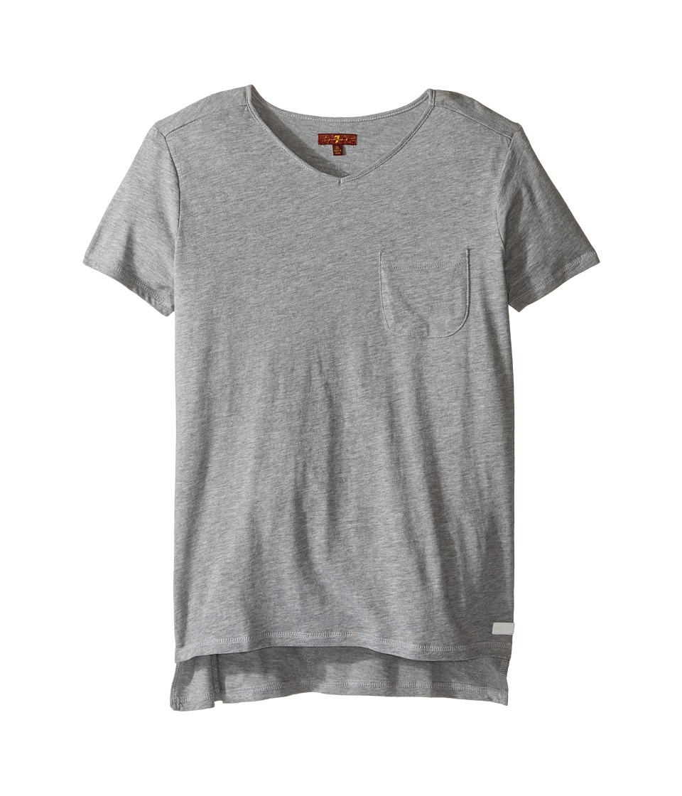 7 For All Mankind Kids - Slub Knit T-Shirt (Big Kids) (Heather Grey) Girl's T Shirt
