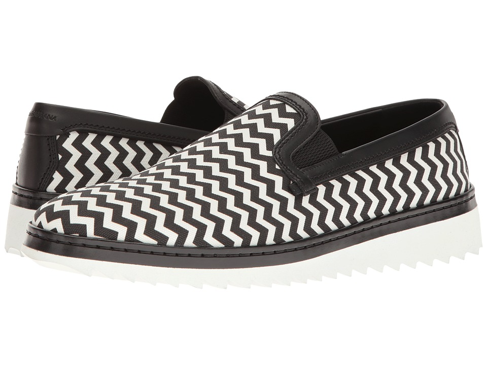 Dolce & Gabbana - Chevron Print Walking Shoe (Black/White) Men's Slip on Shoes