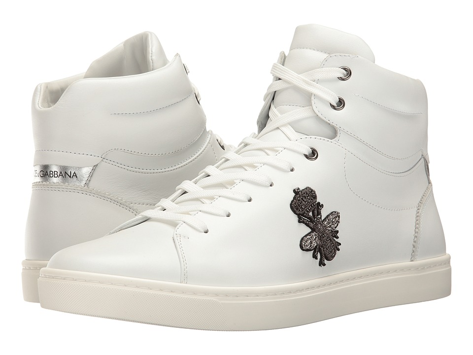 Dolce & Gabbana - London Bee Applique High Top (White) Men's Shoes