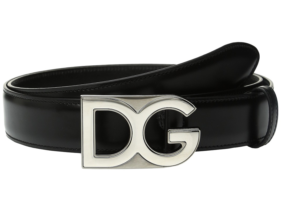 Dolce & Gabbana - Logo Buckle Smooth Leather Belt (Black) Men's Belts
