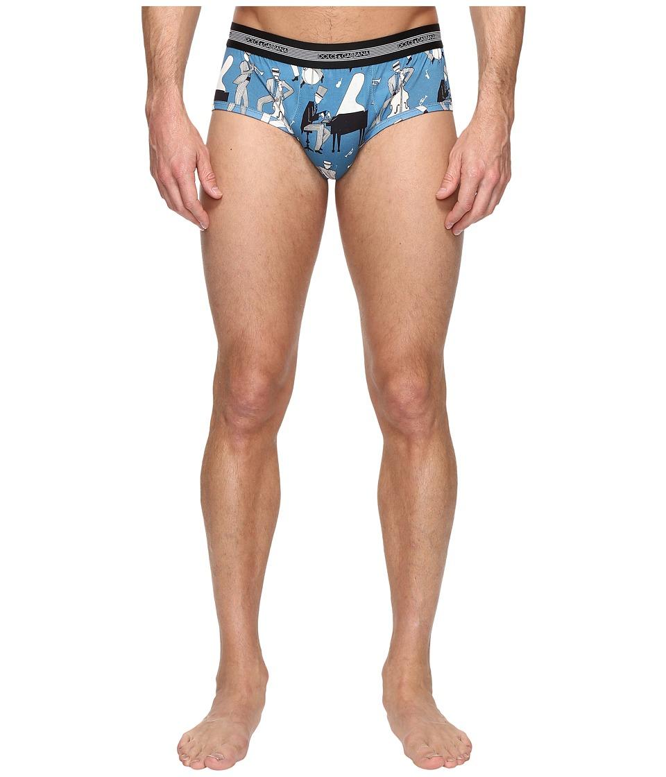 Dolce & Gabbana - Jazz Print Brief (Blue) Men's Underwear