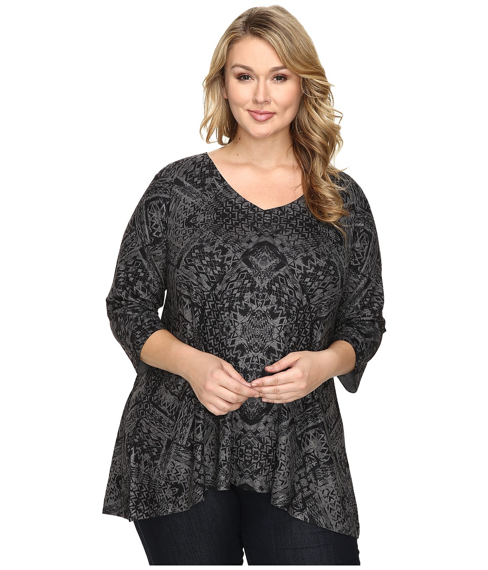 Nally & Millie - Plus Size Ikat Print Tunic (Multi) Women's Clothing