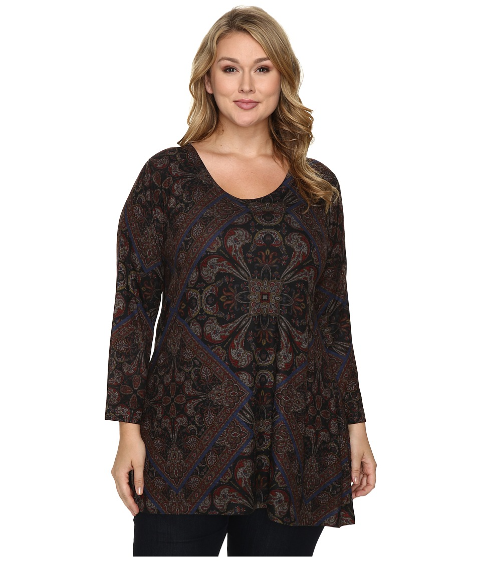 Nally & Millie - Plus Size Printed Patch Scarf Tunic (Multi) Women's Clothing