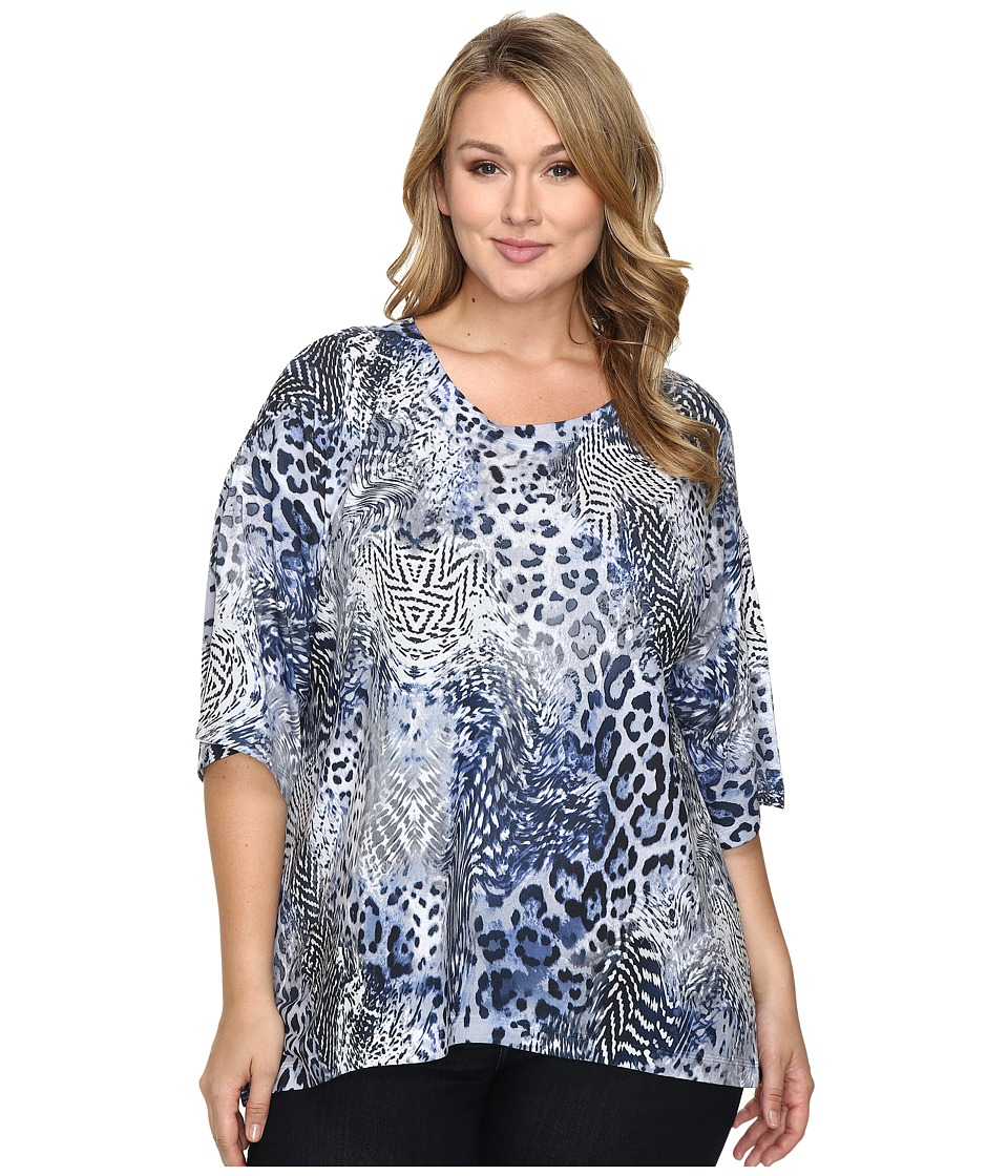 Nally & Millie - Plus Size Printed Animal Boxy Sweater Top (Multi) Women's Sweater