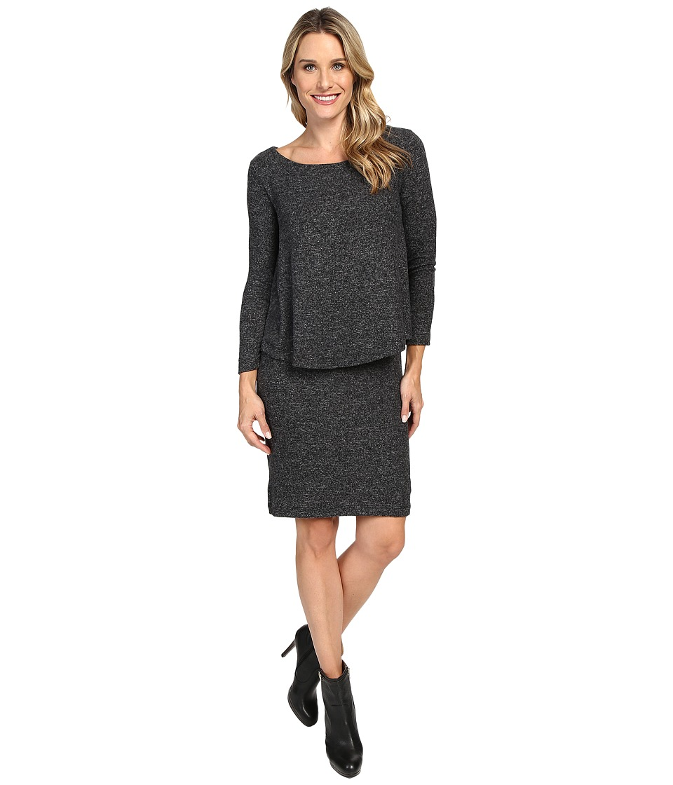 Nally & Millie Long Sleeve Brushed Sweater Overlay Dress (Black) Women
