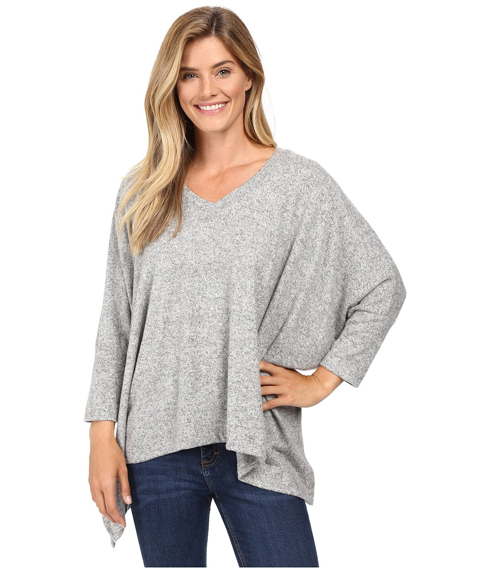 Nally & Millie - V-Neck Long Sleeve Oversize Top with Side Slits (Heather Grey) Women's Clothing