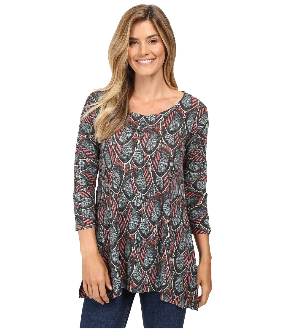 Nally & Millie - Multicolor Feather Print Tunic (Multi) Women's Clothing