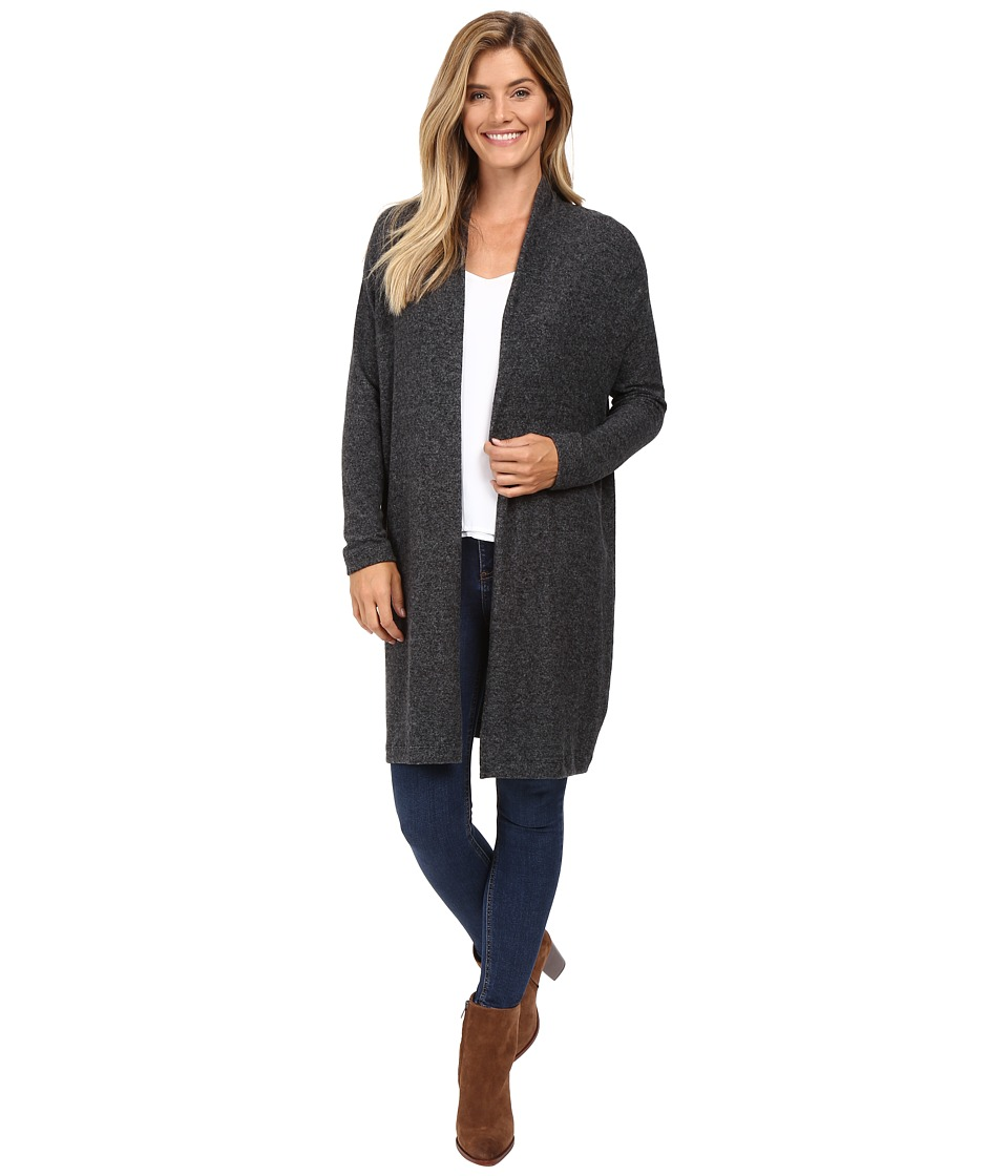 Nally & Millie - Long Sleeve Open Front Cardigan with Pleated Back (Black) Women's Sweater