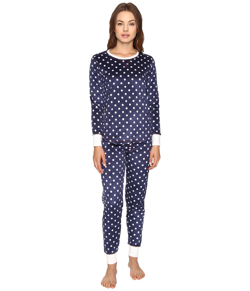 P.J. Salvage - Polar Polka Dot Fleece PJ Set (Navy) Women's Pajama Sets