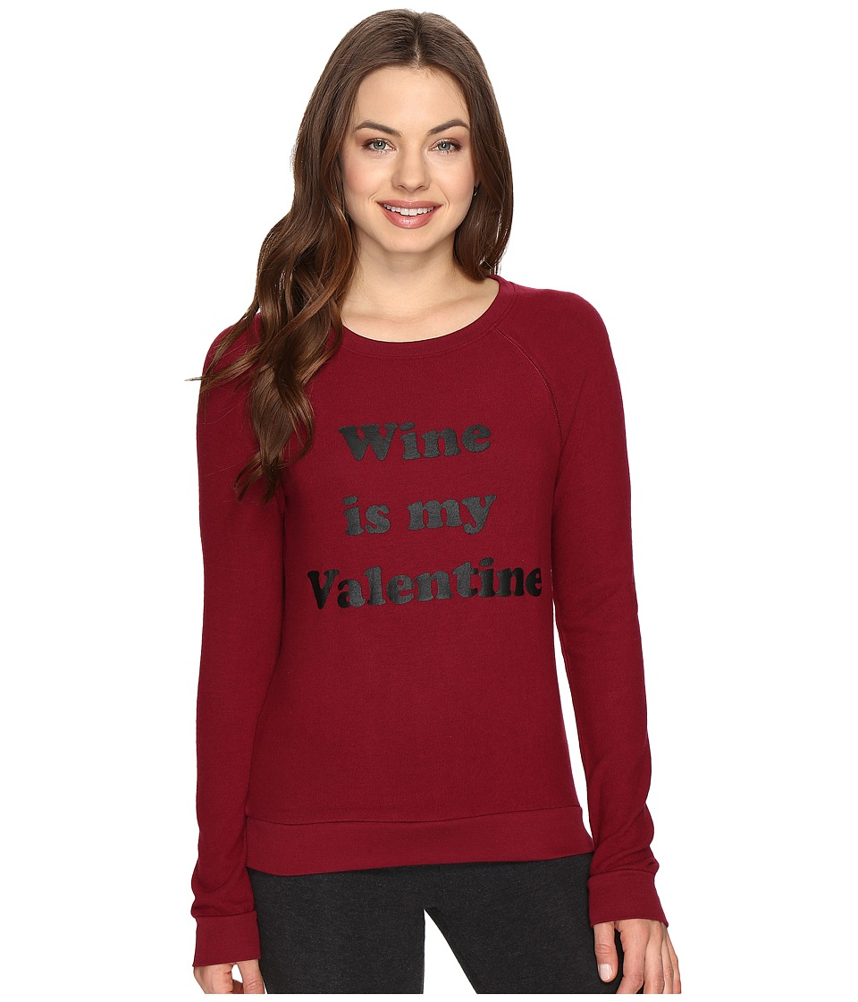 P.J. Salvage Wine Is My Valentine Sweatshirt (Merlot) Women