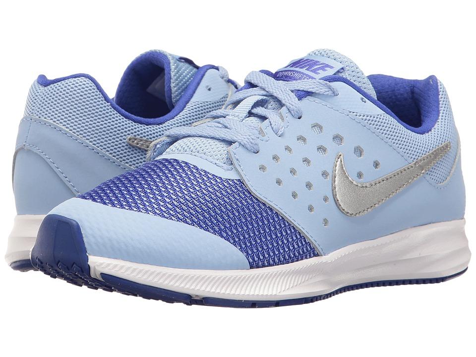 Nike Kids Downshifter 7 (Little Kid) (Aluminum/Metallic Silver/Paramount Blue) Girls Shoes