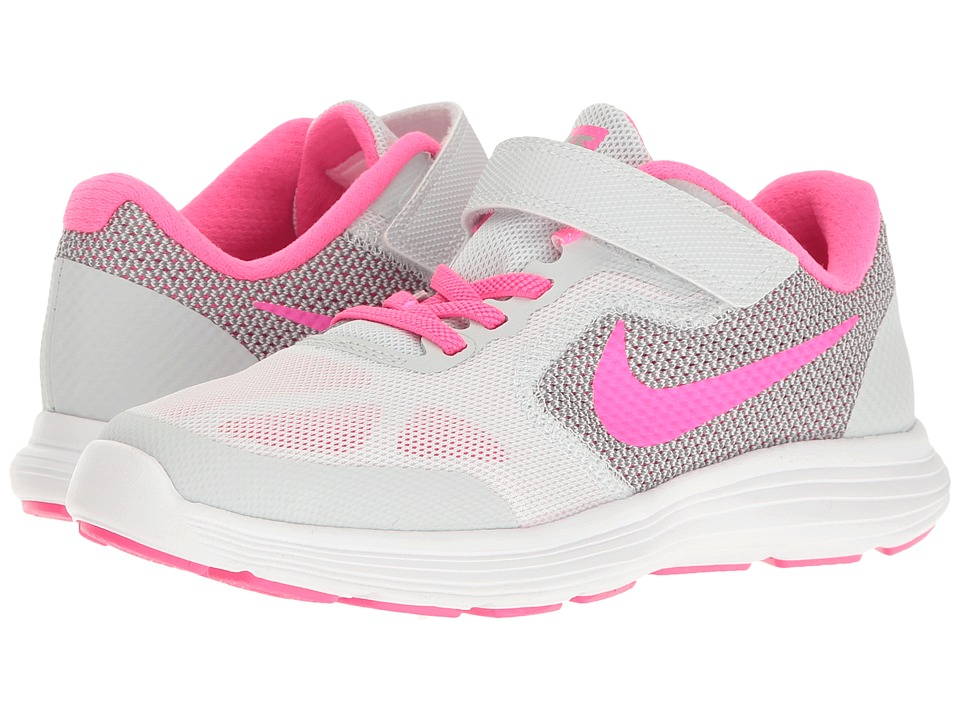 Nike Kids - Revolution 3 (Little Kid) (Pure Platinum/Pink Blast/Wolf Grey/White) Girls Shoes