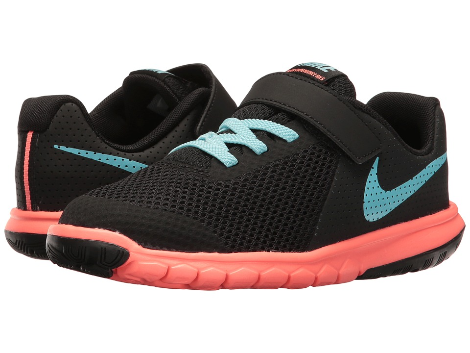 Nike Kids - Flex Experience 5 (Little Kid) (Black/Still Blue/Lava Glow) Girls Shoes