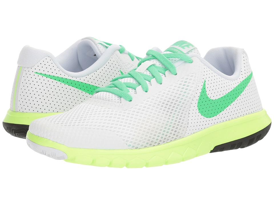 Nike Kids - Flex Experience 5 (Big Kid) (White/Electro Green/Ghost Green/Black) Girls Shoes
