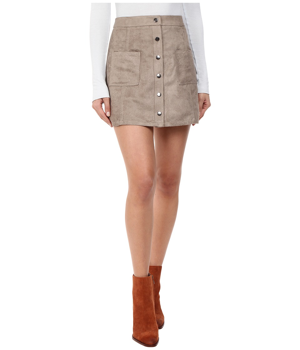 Jack by BB Dakota - Callister Faux Suede Button Front Skirt (Stone Brown) Women's Skirt