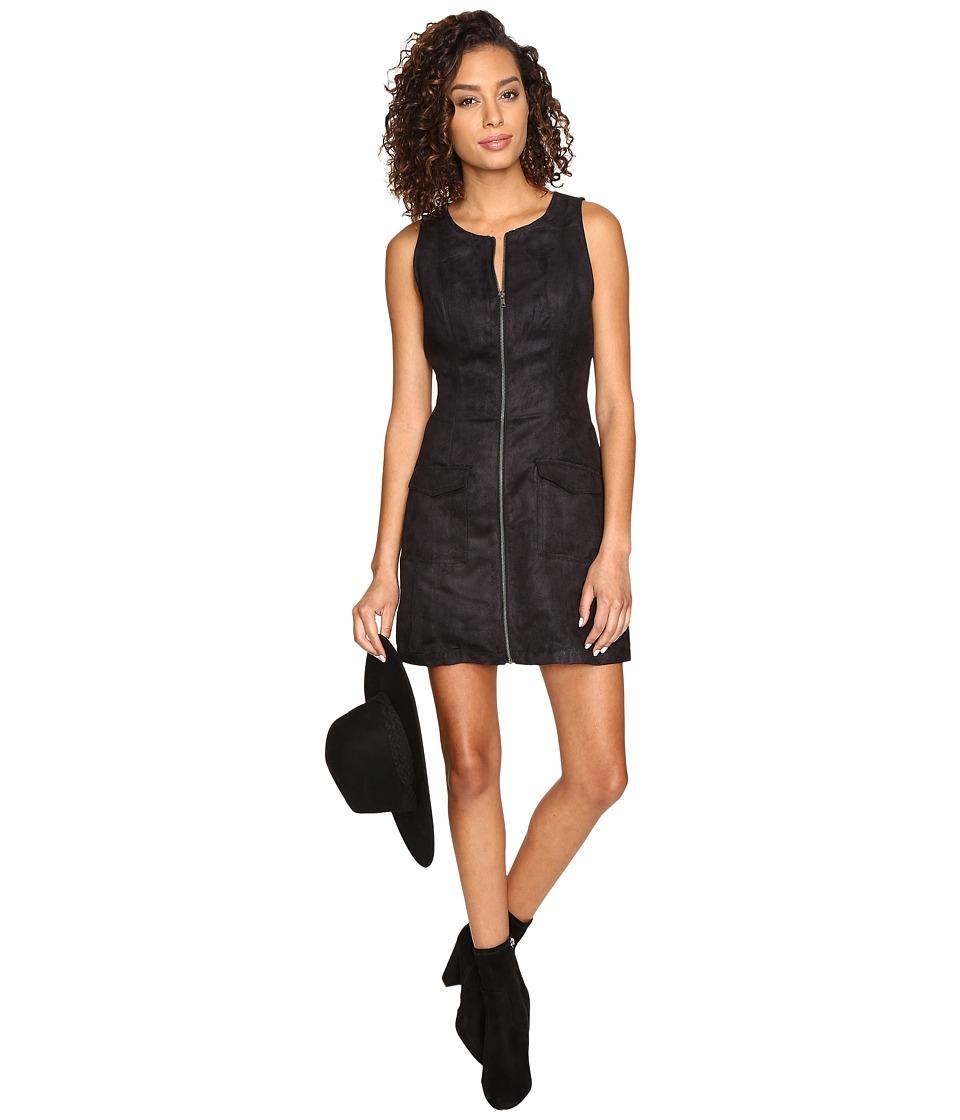 Jack by BB Dakota Marceline Faux Suede Front Zip Dress (Black) Women