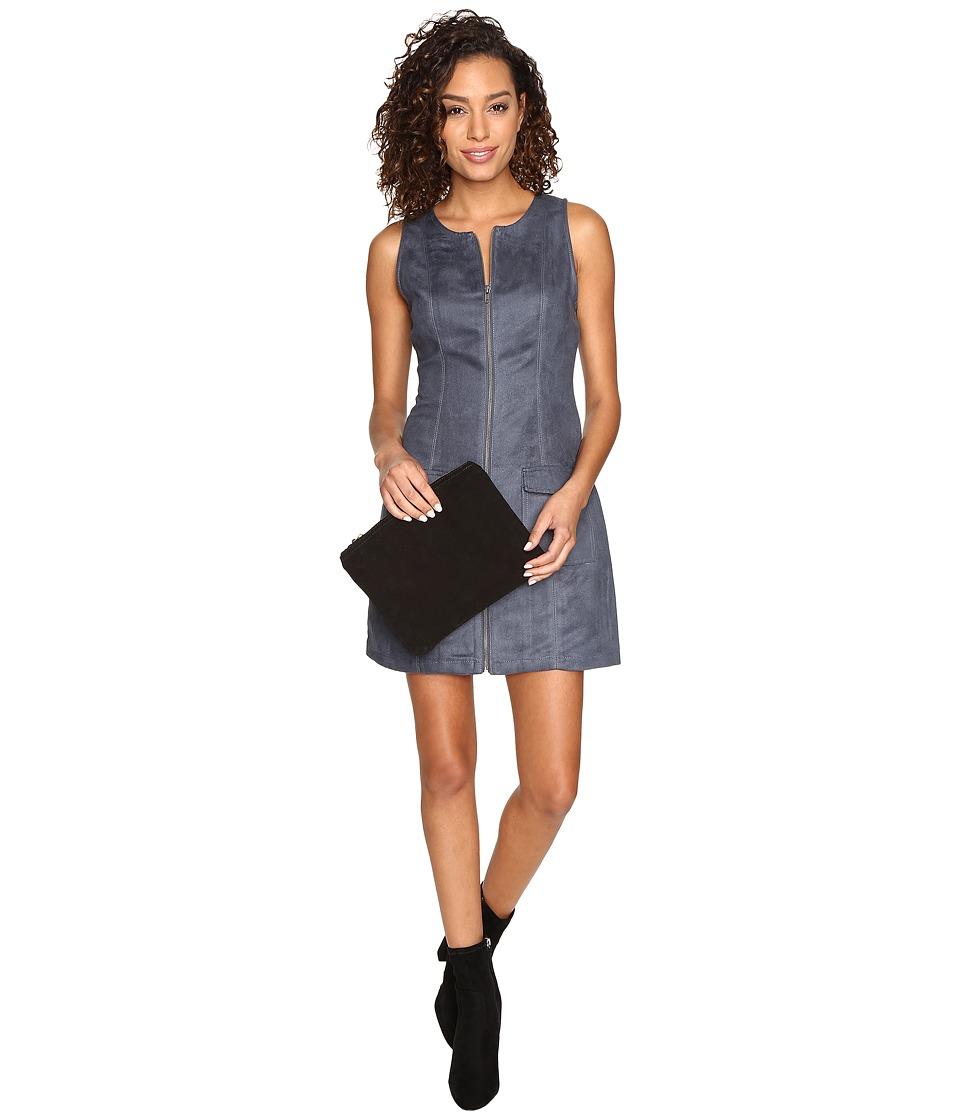 Jack by BB Dakota Marceline Faux Suede Front Zip Dress (Steel Grey) Women