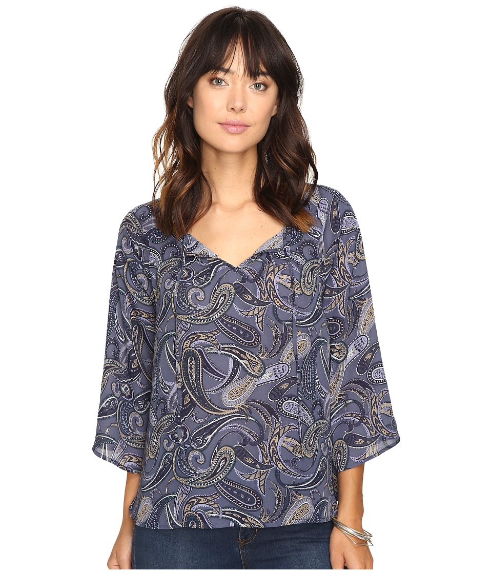 Jack by BB Dakota - Solas Printed Top (Indigo Blue) Women's Clothing