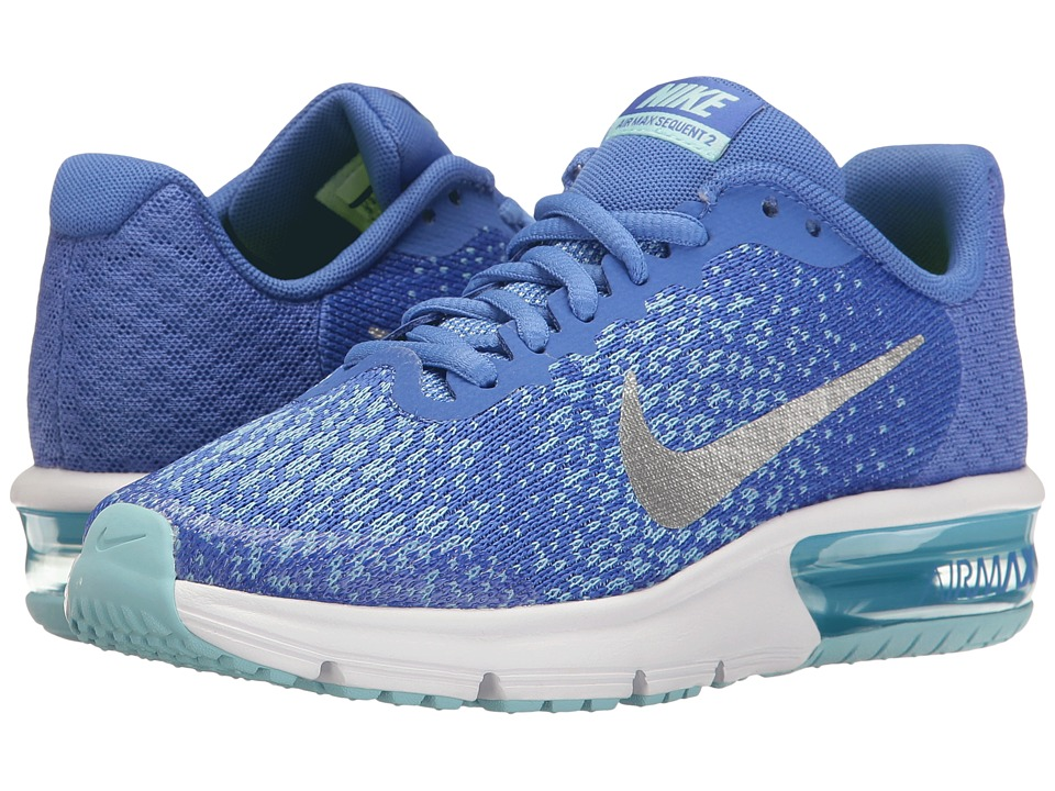 Nike Kids - Air Max Sequent 2 (Big Kid) (Medium Blue/Metallic Silver/Still Blue) Girls Shoes
