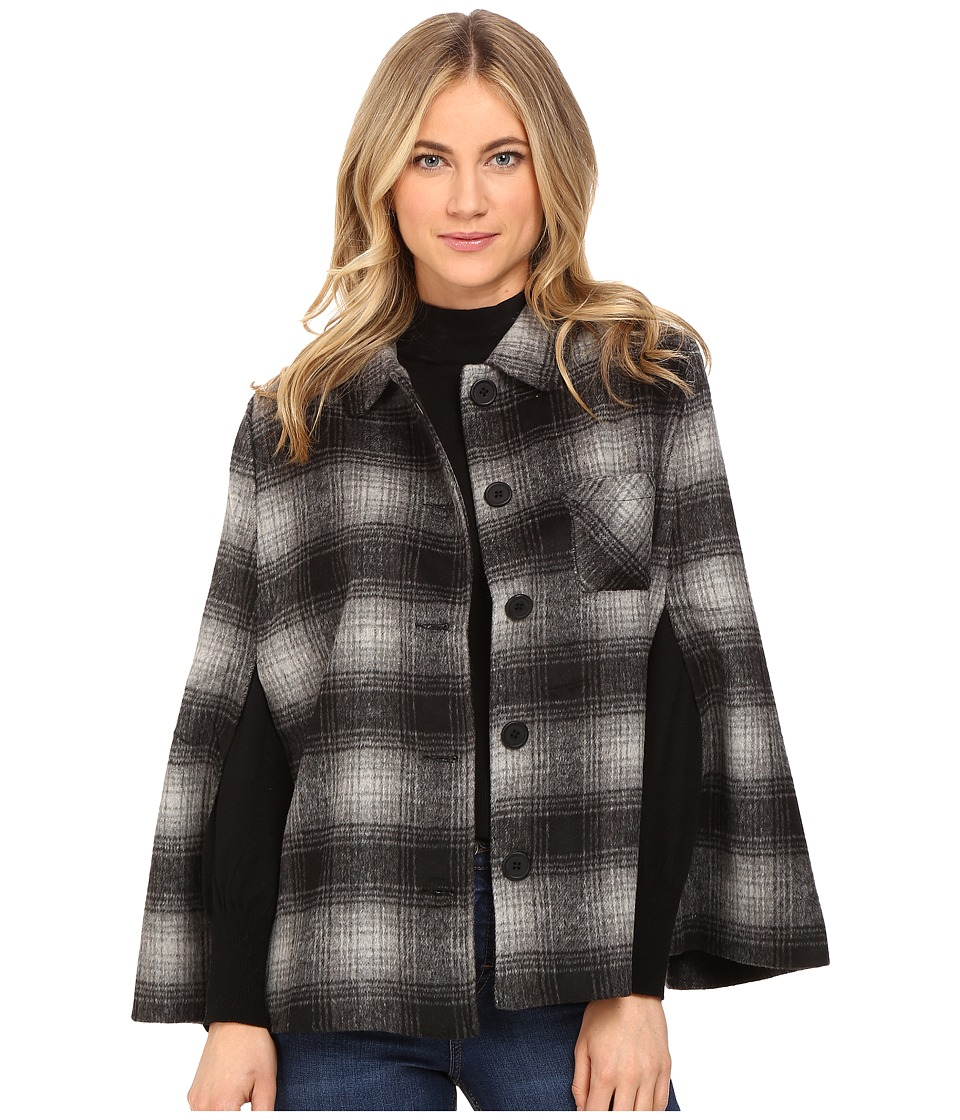 Jack by BB Dakota - Alize Plaid Capelet (Black) Women's Clothing