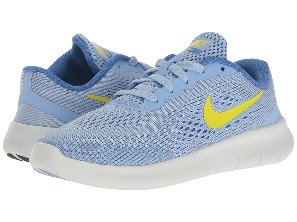 Nike Kids - Free RN (Little Kid) (Aluminum/Electrolime/Medium Blue) Girls Shoes